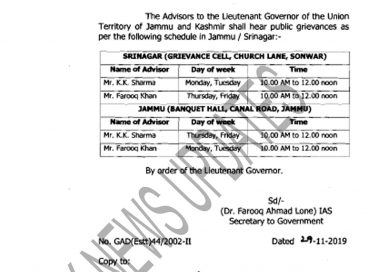 Schedule of hearing of Public Grievances by the Advisors