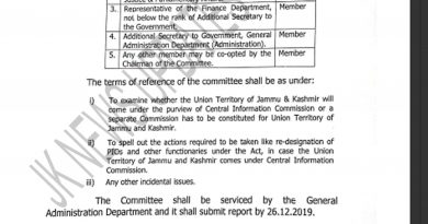 Constitution of a Committee to examine the issues relating to Right to Information Act
