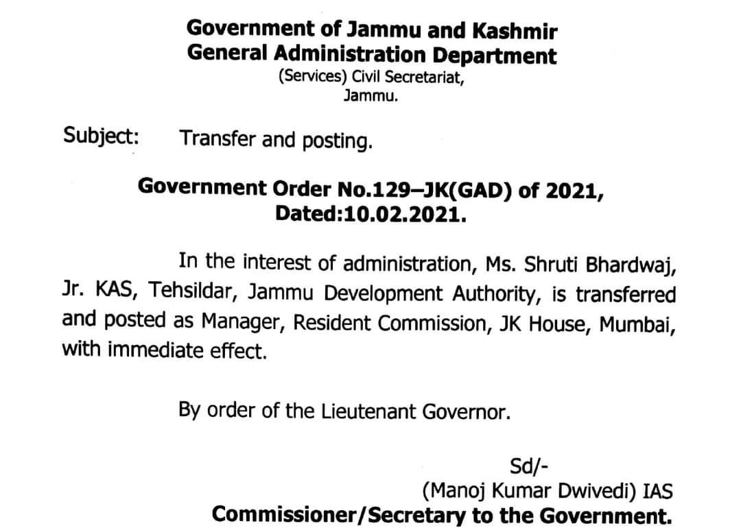 Govt . Orders transfers and posted Ms.Shruti bhardwaj ( KAS) as manager JK house, Mumbai