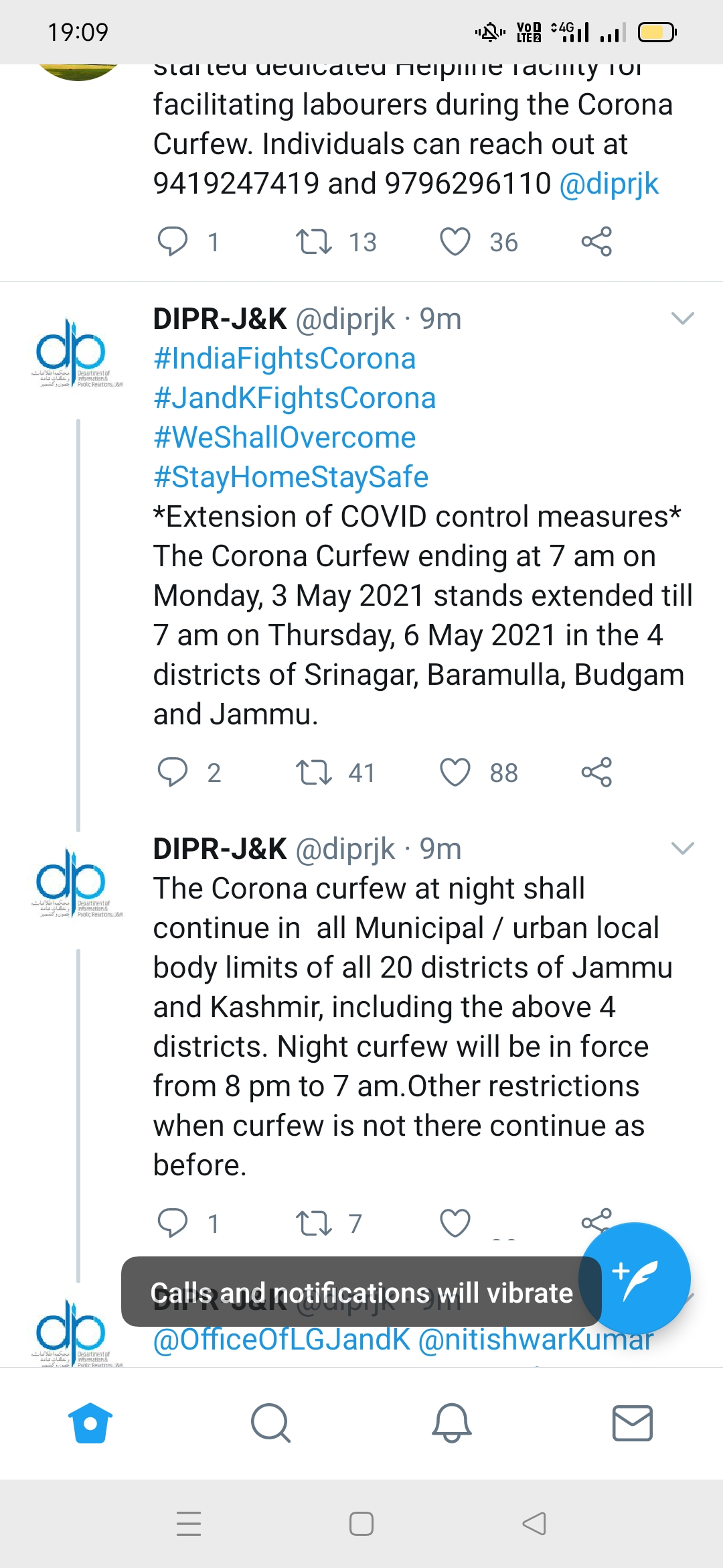 Govt Extends Corona Curfew In 4 Districts Till 6 a.m. May 6